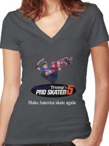 Make America Skate Again Women's Fitted V-Neck T-Shirt