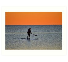 Standup Paddleboarding Across Nicoll Bay At Dawn | Great River, New York Art Print
