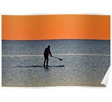 Standup Paddleboarding Across Nicoll Bay At Dawn | Great River, New York Poster