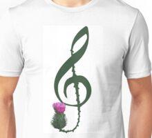 Treble Clef, thistle flower Unisex T-Shirt
