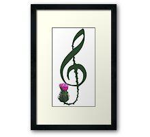 Treble Clef, thistle flower Framed Print