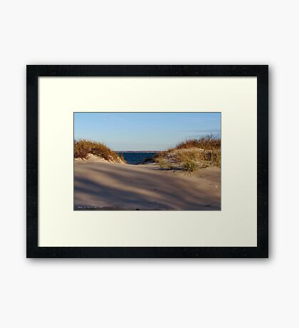 View On Gardiners Island Over The Dunes | Napeague, New York Framed Print