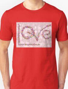 LOVE in Butterflies Over Tulips Unisex T-Shirt