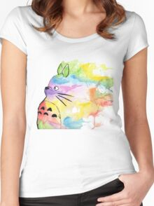 Rainbow Totoro  Women's Fitted Scoop T-Shirt