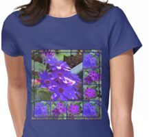 Cinerarias Dreaming -  Floral Collage in Purple and Blue Womens Fitted T-Shirt