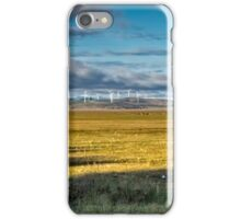 Landscape: wind turbines, kangaroos and a dry lake iPhone Case/Skin