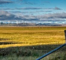 Landscape: wind turbines, kangaroos and a dry lake Sticker