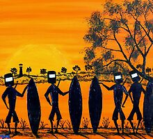 """Ned Kelly Gang Off For A Surf"" Australia; SOLD by EJCairns"