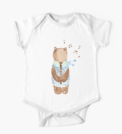 Bear Playing Flute One Piece - Short Sleeve