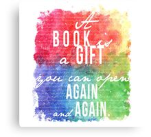 A Book is a Gift Canvas Print