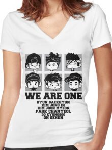 EXO (EXO-K) We Are One Chibi Women's Fitted V-Neck T-Shirt