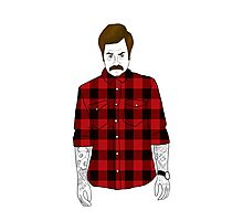 Hipster Ron Swanson (Flannel)  Photographic Print