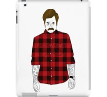 Hipster Ron Swanson (Flannel)  iPad Case/Skin