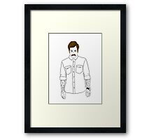 Hipster Ron Swanson (Clear) Framed Print