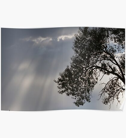 cloudy sky on the hilly Poster