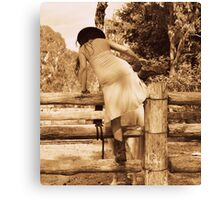 Cowgirl Up, Stock Yards boots and a wet dress. Canvas Print