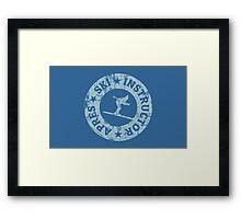 Après-Ski Instructor Seal Vintage Light Blue Framed Print