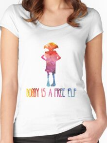 Dobby Is A Free Elf - Colourful Silhouette Women's Fitted Scoop T-Shirt