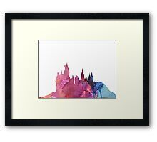Hogwarts Castle Colourful Silhouette Framed Print