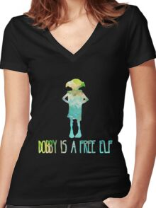 Dobby Is A Free Elf - Colourful Silhouette #2 Women's Fitted V-Neck T-Shirt