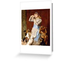 Briton Riviere - Girl With Dogs  Greeting Card