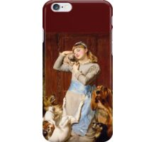 Briton Riviere - Girl With Dogs  iPhone Case/Skin