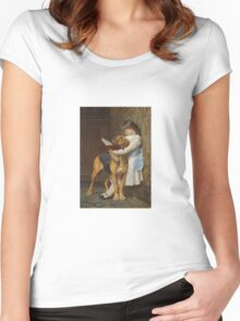 Briton Riviere - Reading Lesson Compulsory Education Women's Fitted Scoop T-Shirt