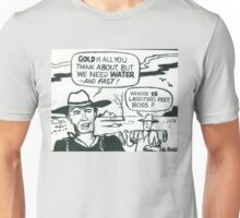 Comic strip artwork of prospectors in Aussie outback Unisex T-Shirt