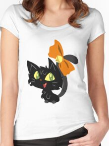 Halloween Black Cat with a Ribbon Women's Fitted Scoop T-Shirt