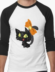 Halloween Black Cat with a Ribbon Men's Baseball ¾ T-Shirt
