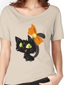 Halloween Black Cat with a Ribbon Women's Relaxed Fit T-Shirt