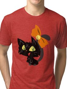 Halloween Black Cat with a Ribbon Tri-blend T-Shirt