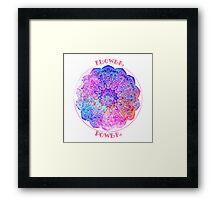 Watercolor mandala. Flower Power Framed Print