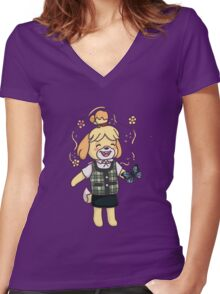 Isabelle -  animal crossing Women's Fitted V-Neck T-Shirt