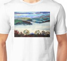 Devon Landscape Painting - Mist in the Exe Valley Unisex T-Shirt