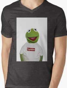 Supreme Kermit the frog Mens V-Neck T-Shirt