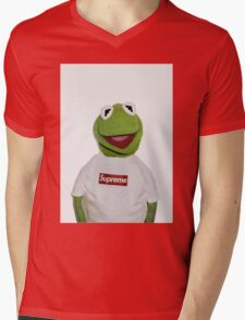 Supreme Kermit the frog Mens V-Neck T-Shirt