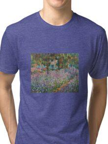 Claude Monet - Irises In Monets Garden Tri-blend T-Shirt