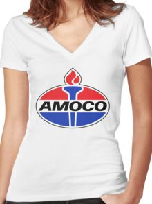 AMOCO oil vintage retro racing lubricant Women's Fitted V-Neck T-Shirt