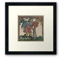 Aquarius Woodcut - 1512 Framed Print