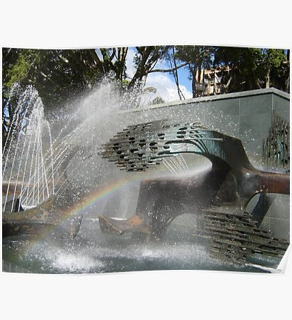 Newcastle (NSW) - Civic Fountain Rainbow Poster
