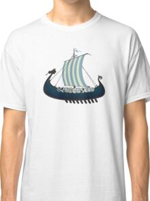 Blue viking ship Classic T-Shirt