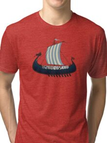 Blue viking ship Tri-blend T-Shirt