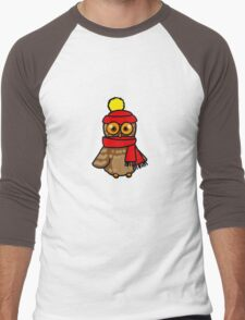 Cute winter owl bird Men's Baseball ¾ T-Shirt