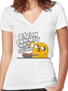 "Jake - Adventure Time ""pancakes"" Women's Fitted V-Neck T-Shirt"