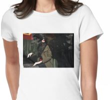Elegance, Glamour and Chic - Bright Red Lipstick in the Shadows Womens Fitted T-Shirt