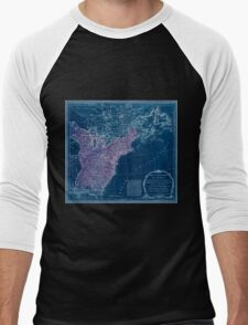 American Revolutionary War Era Maps 1750-1786 949 The United States of America with the British possessions of Canada Nova Scotia & of Newfoundland divided Inverted Men's Baseball ¾ T-Shirt