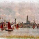 Antwerp Harbour - Belgium - Aquarell by Gilberte