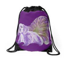 Half cute dog & half squirrel (purple,light brown) Drawstring Bag