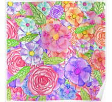 Pretty Hand Painted Watercolor Floral Collage Poster